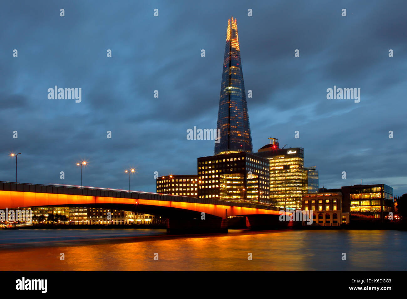 The Shard and New London Bridge in evening light - Stock Image