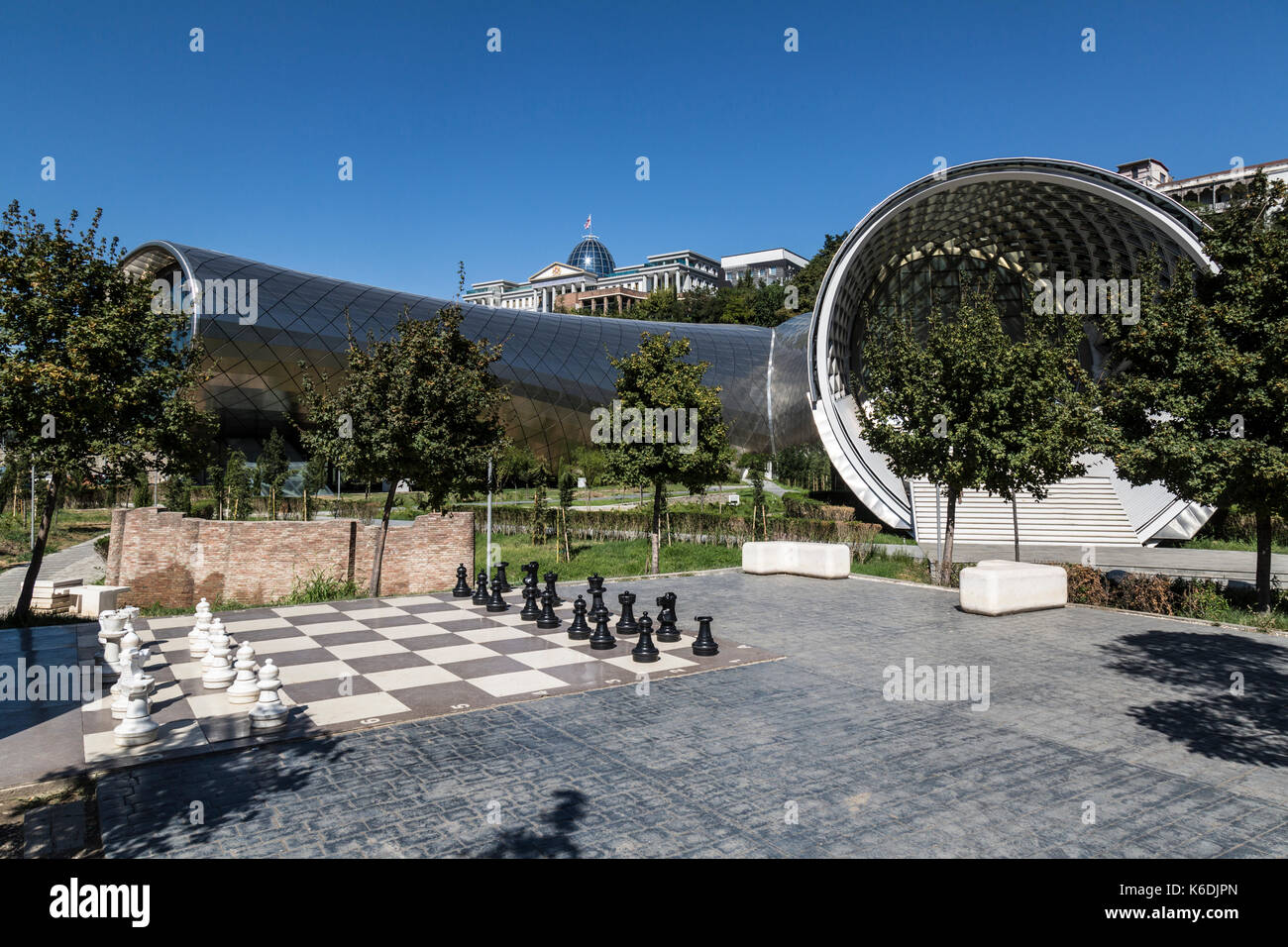 Entrance to the Cultural centre in the middle of Tbilisi in Georgia. Designed by the Rome based architects Fuksas. - Stock Image