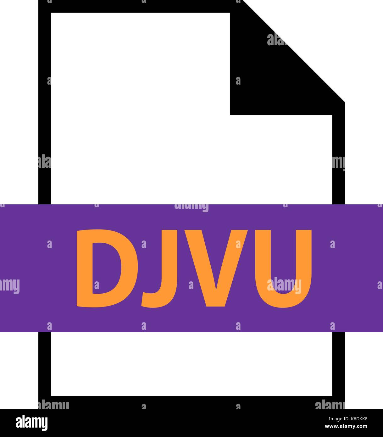 Use it in all your designs. Filename extension icon DJVU file format for scanned document in flat style. Quick and easy recolorable shape - Stock Image