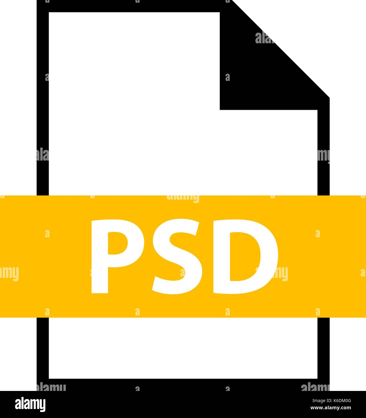Use it in all your designs. Filename extension icon PSD PhotoShop Document in flat style. Quick and easy recolorable shape. Vector illustration a grap - Stock Image