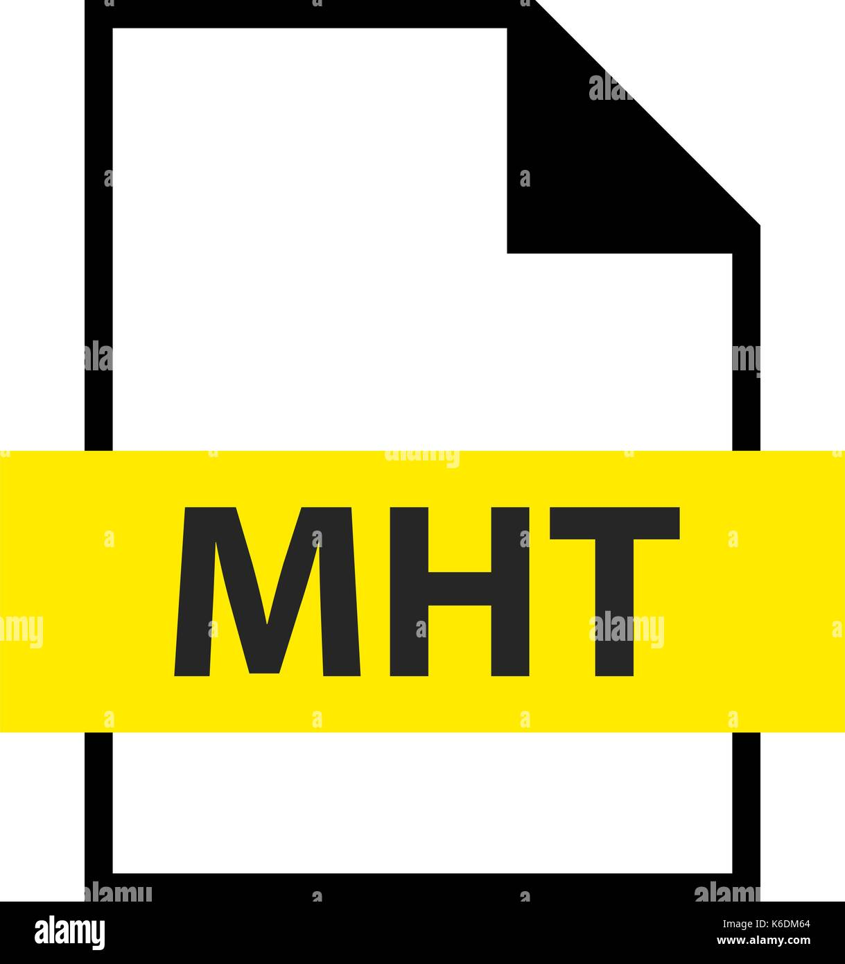 Use it in all your designs. Filename extension icon MHT MIME HTML archive format in flat style. Quick and easy recolorable shape. Vector illustration  - Stock Vector