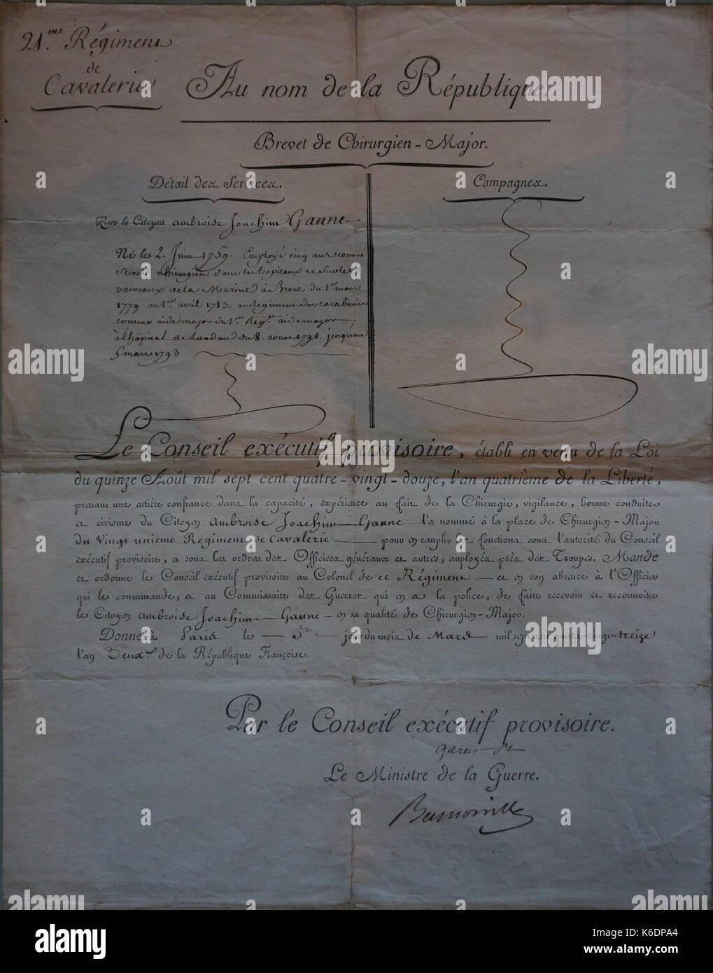 Brevet 1793 de chirurgien major 21e cavalerie 6033 - Stock Image