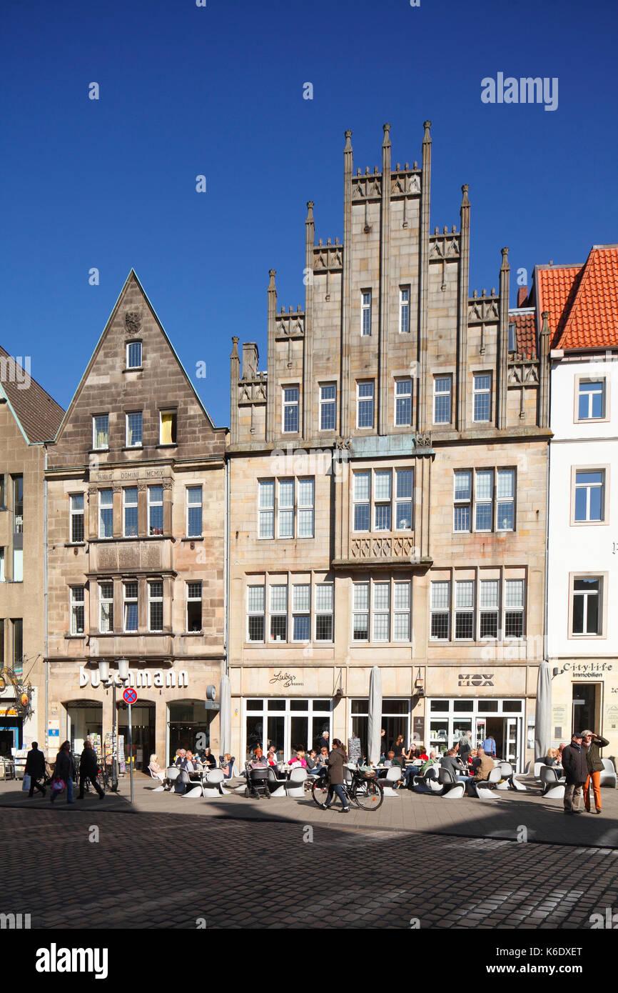 Muenster in Westfalen : Historisches Haeuser an der Strasse Roggenmarkt   I Old Houses in Sreet Roggenmarkt, Münster in Westphalia , North Rhine-Westp - Stock Image