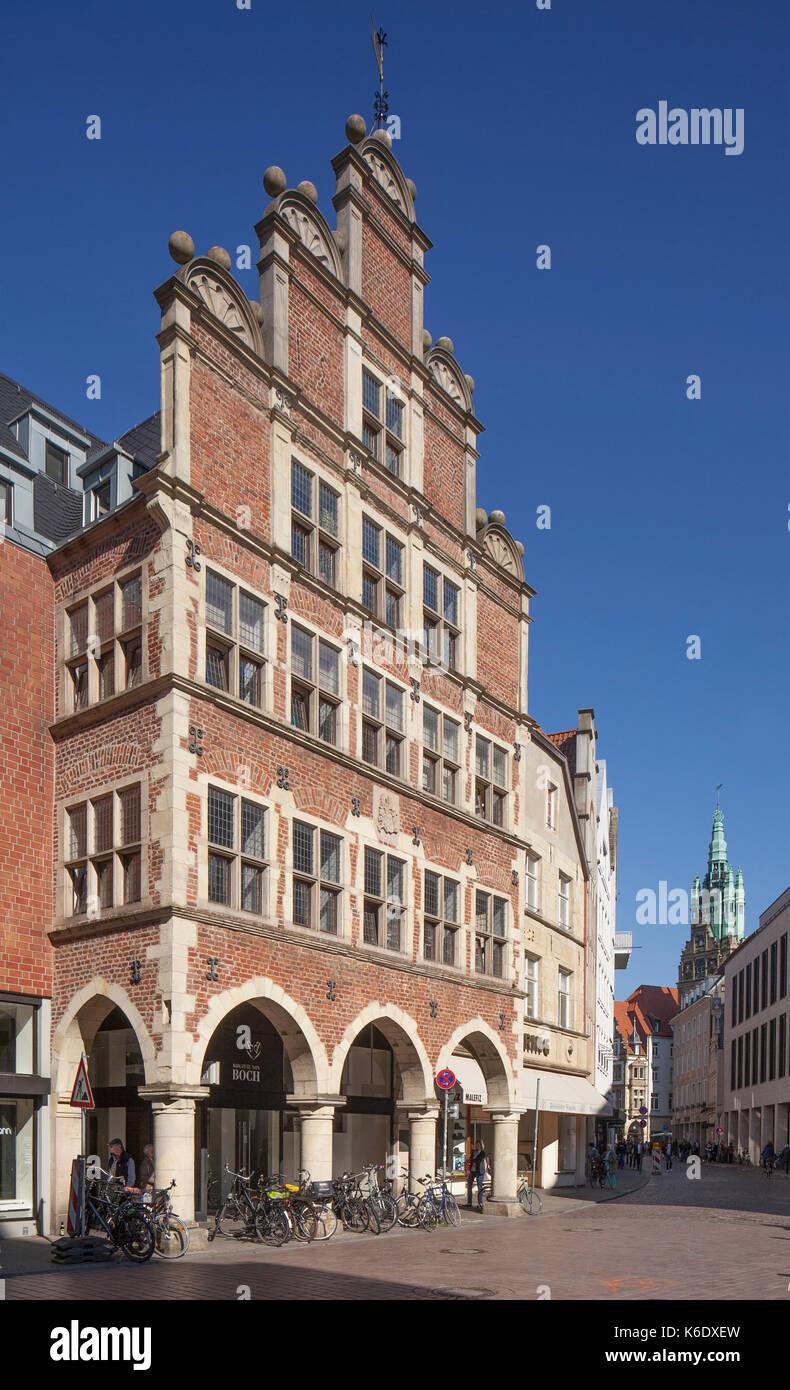 Muenster in Westfalen : Historisches Haus an der Strasse Rothenburg   I Old House in Sreet Rothenburg, Münster in Westphalia , North Rhine-Westphalia, - Stock Image