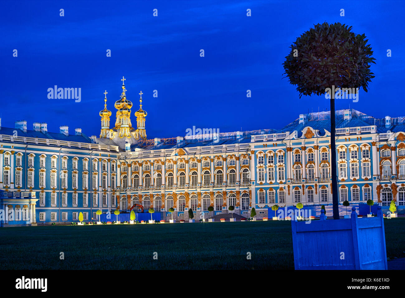 Late evening at Catherine Palace the summer residence of the Russian tsars at Pushkin, Saint-Petersburg. Square Stock Photo