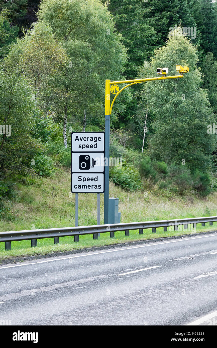 Average Speed Camera on the A9 in Scotland - Stock Image