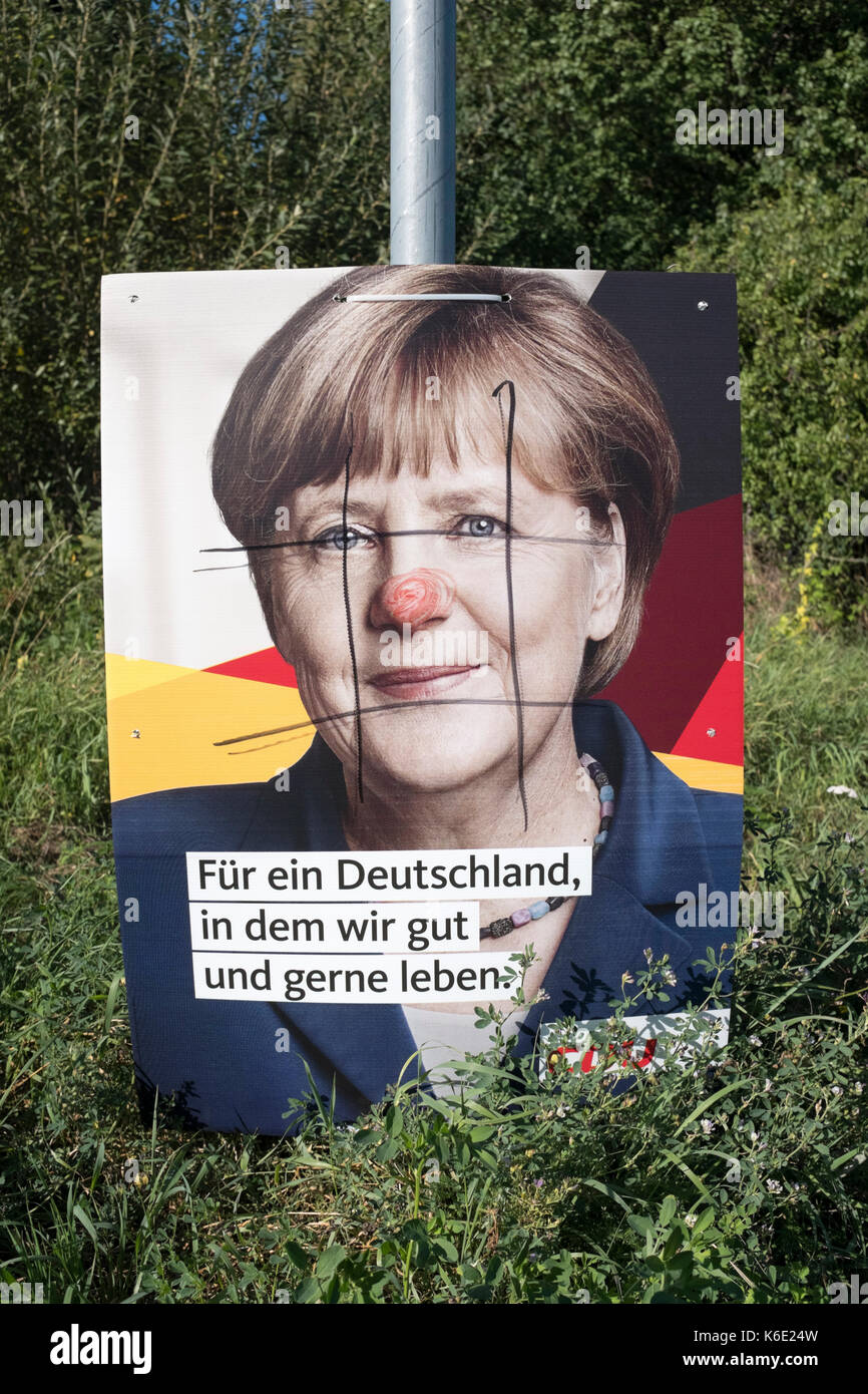 Election poster for Angela Merkel (CDU), for the German national election 2017 - Stock Image
