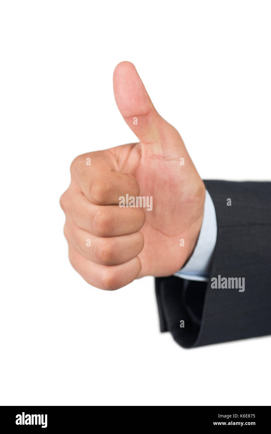 Isolated Business man hand with thumb up - Stock Image