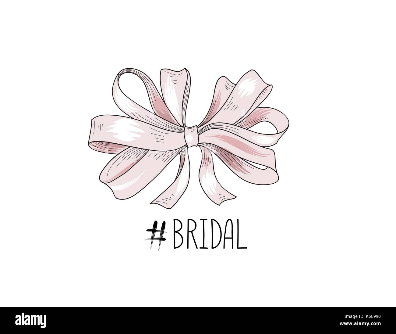 Bow drawn. Wed sign. Gentle cream pink bow ribbon isolated with tag Bridal Stock Vector