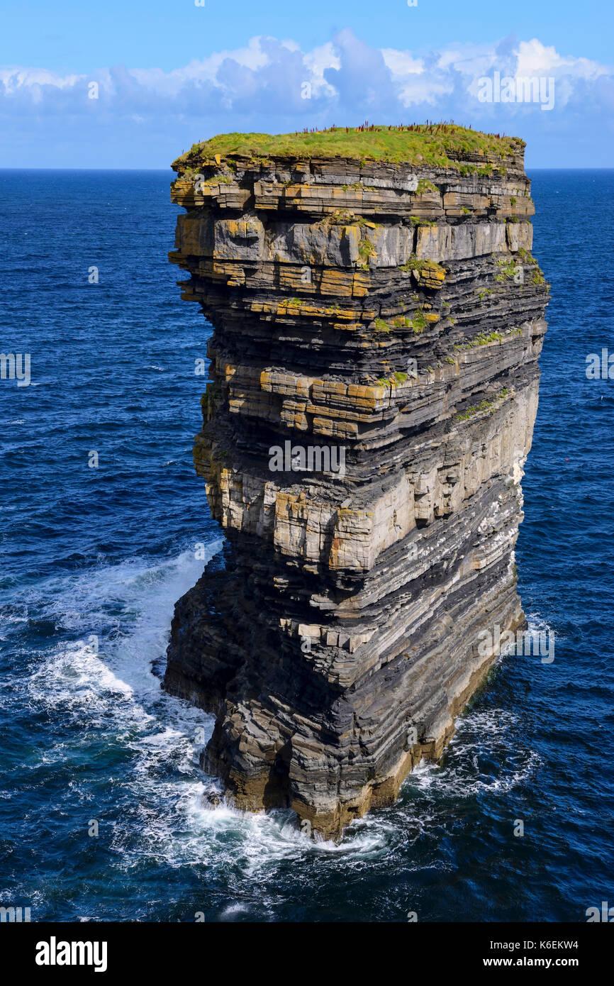 Dun Briste sea stack at Downpatrick Head, County Mayo, Republic of Ireland - Stock Image