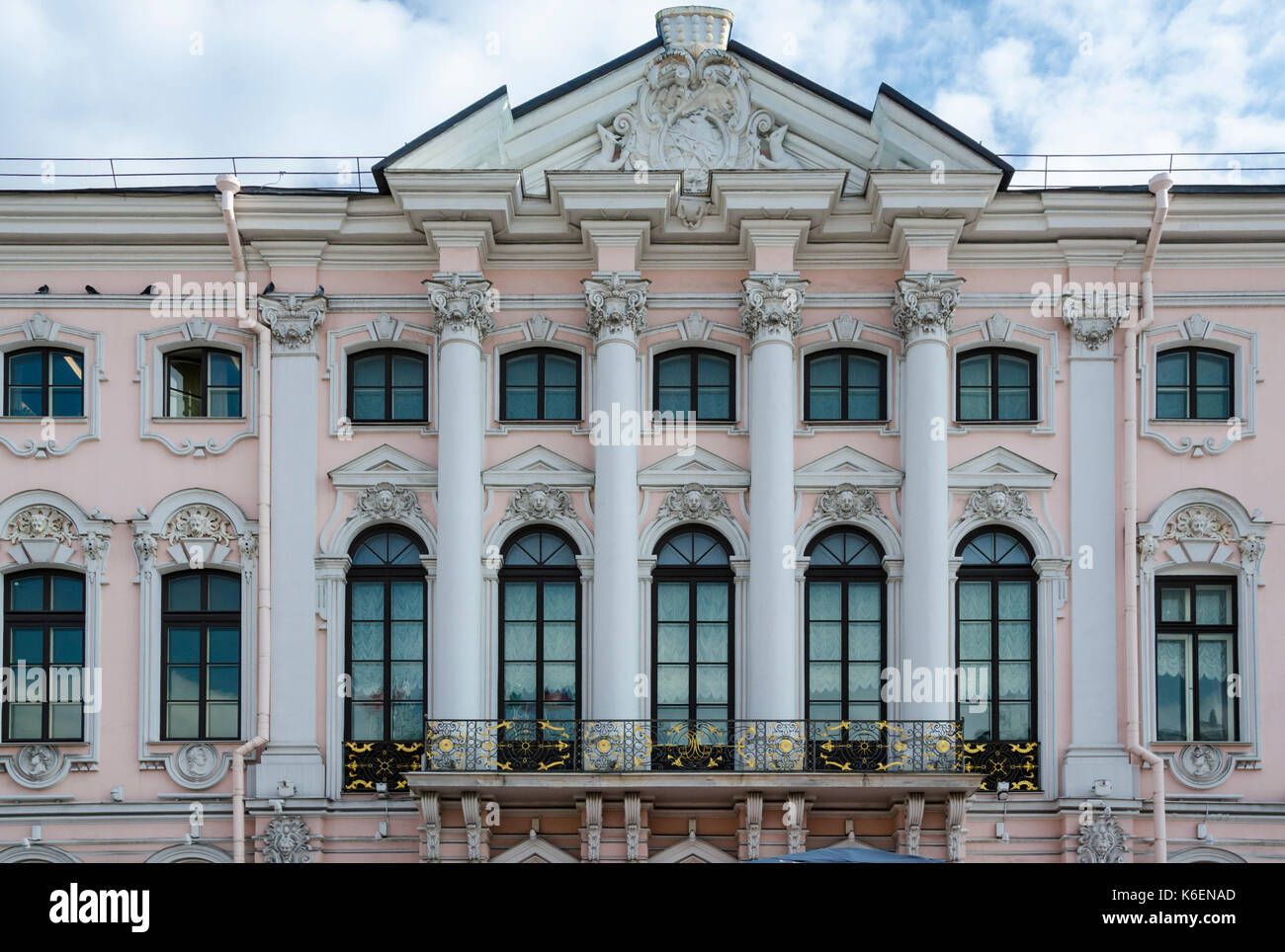 Classical Architecture Facade Building Baroque Style Richly Decorated With Architectural Details In St Petersburg Russia