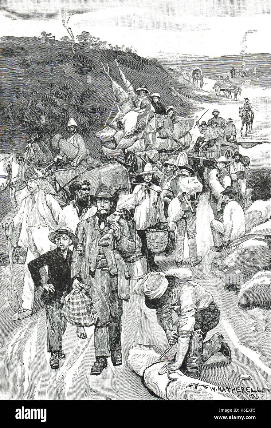 The Victorian gold rush (1851-1860s), en route to the Gold fields, Victoria, Australia - Stock Image