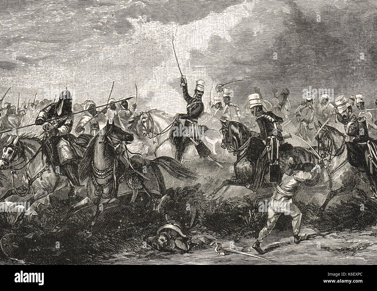 Battle of Chillianwala, charge of the 3rd King's Own Light Dragoons, January 1849, Second Anglo-Sikh War, Punjab, India - Stock Image