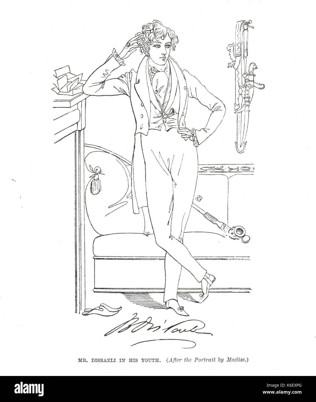 Benjamin Disraeli as a young man, circa 1833 Stock Photo