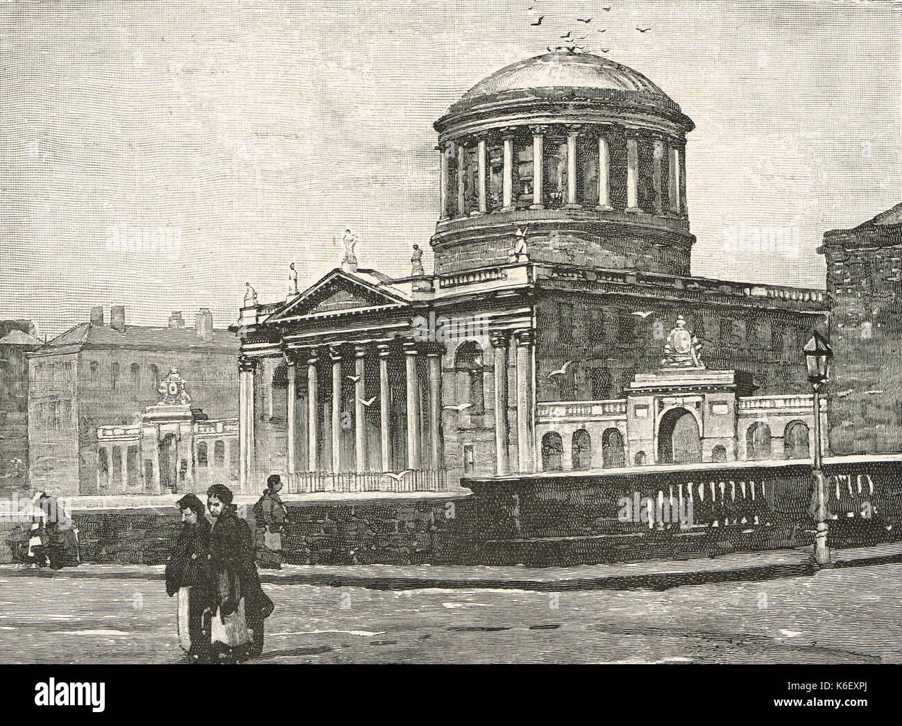 The Four Courts, Dublin, circa 1844 - Stock Image