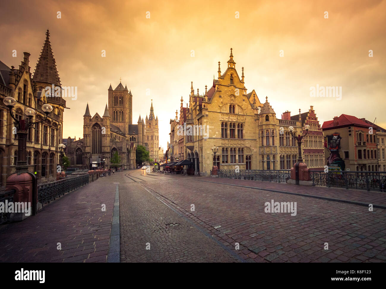 Ghent's old city center scenic place - Ghent, Belgium - Stock Image