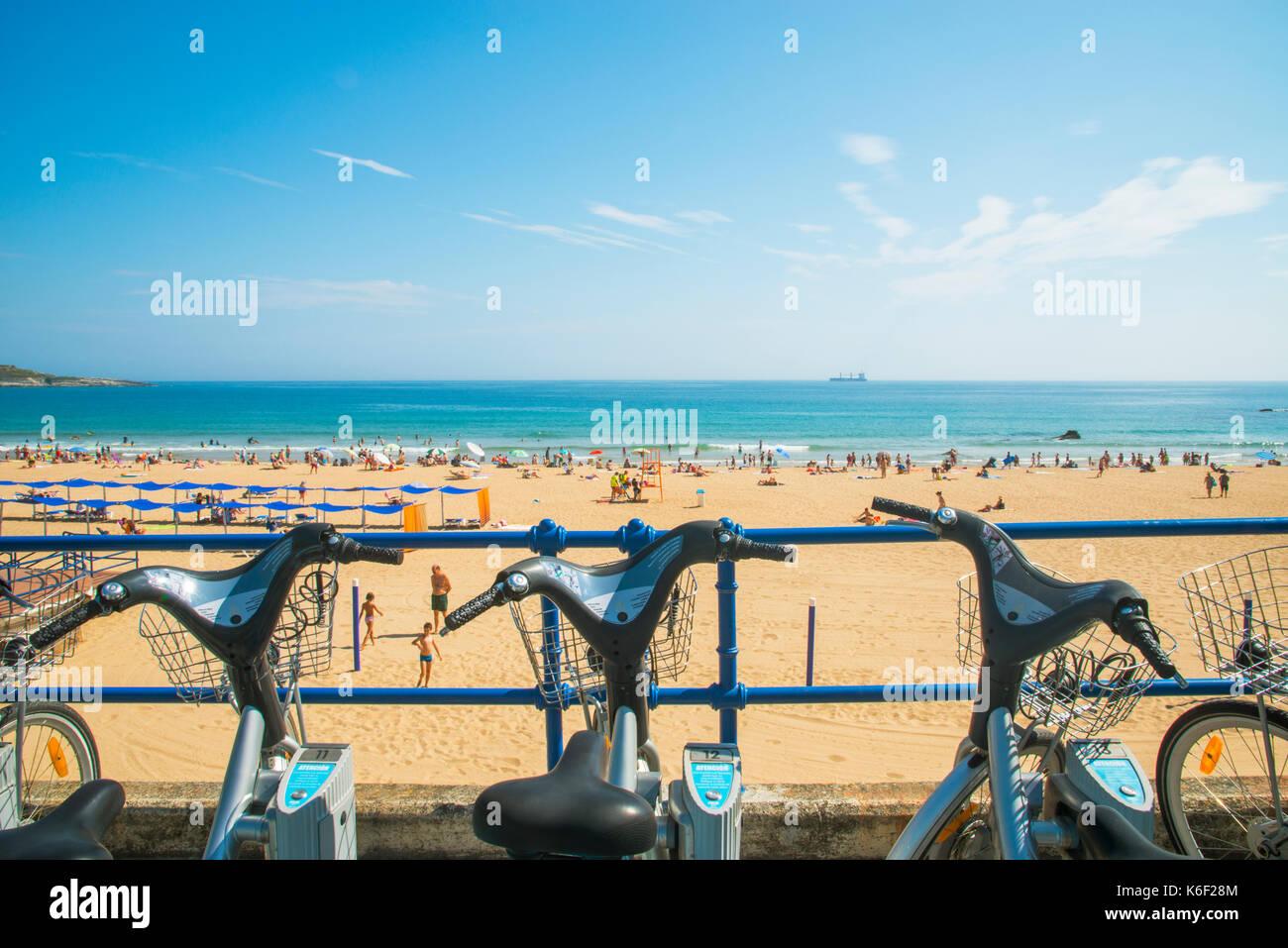 Bike parking and Sardinero beach. Santander, Spain. - Stock Image