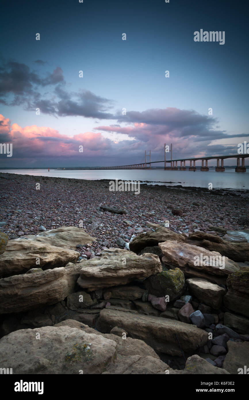 The Second Severn Crossing (M4) between Bristol and Wales, taken from Devil's Rock near Caldicot, Wales, UK. - Stock Image