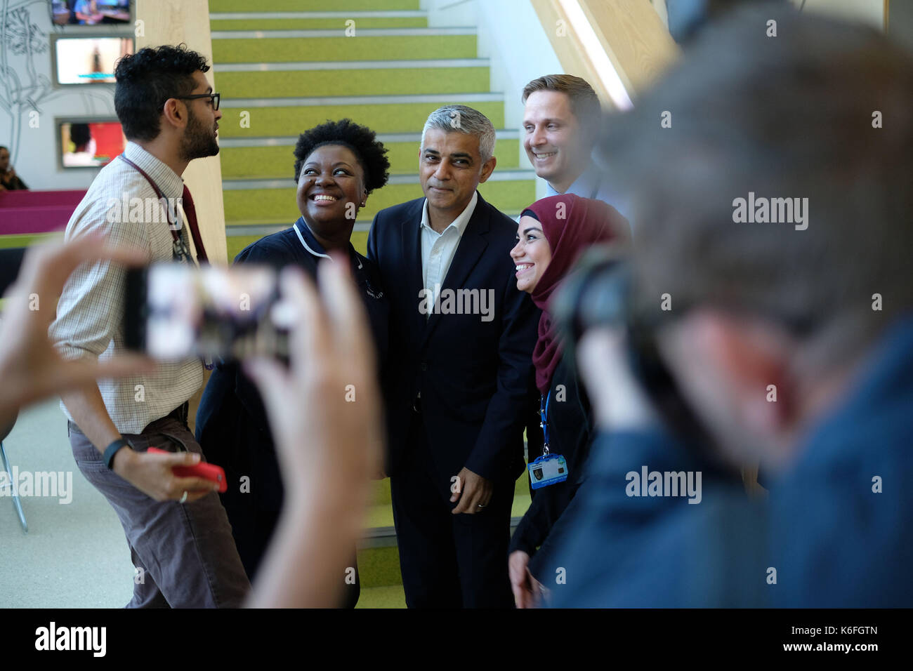 Mayor of London Sadiq Khan visits the Sir Ludwig Guttmann Health & Wellbeing Centre in the Olympic Park in east London to give his views on proposals for the future of NHS services in the city. - Stock Image