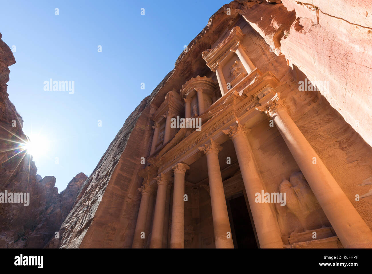 Al Khazneh or The Treasury at Petra, Jordan-- it is a symbol of Jordan, as well as Jordan's most-visited tourist attraction - Stock Image