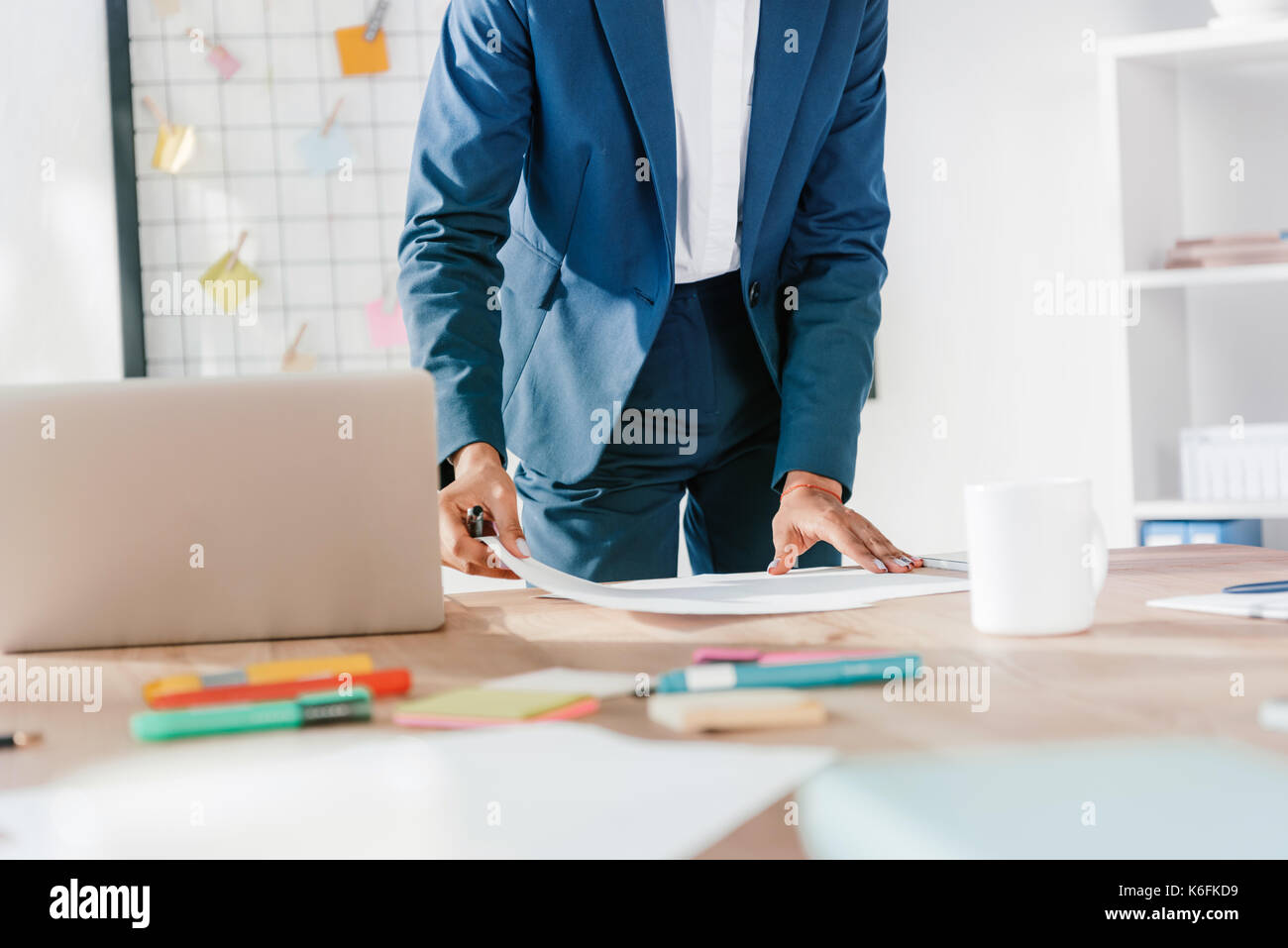 businesswoman working with papers - Stock Image