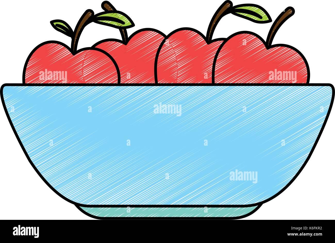 kitchen plastic bowl with apples vector illustration design Stock ...