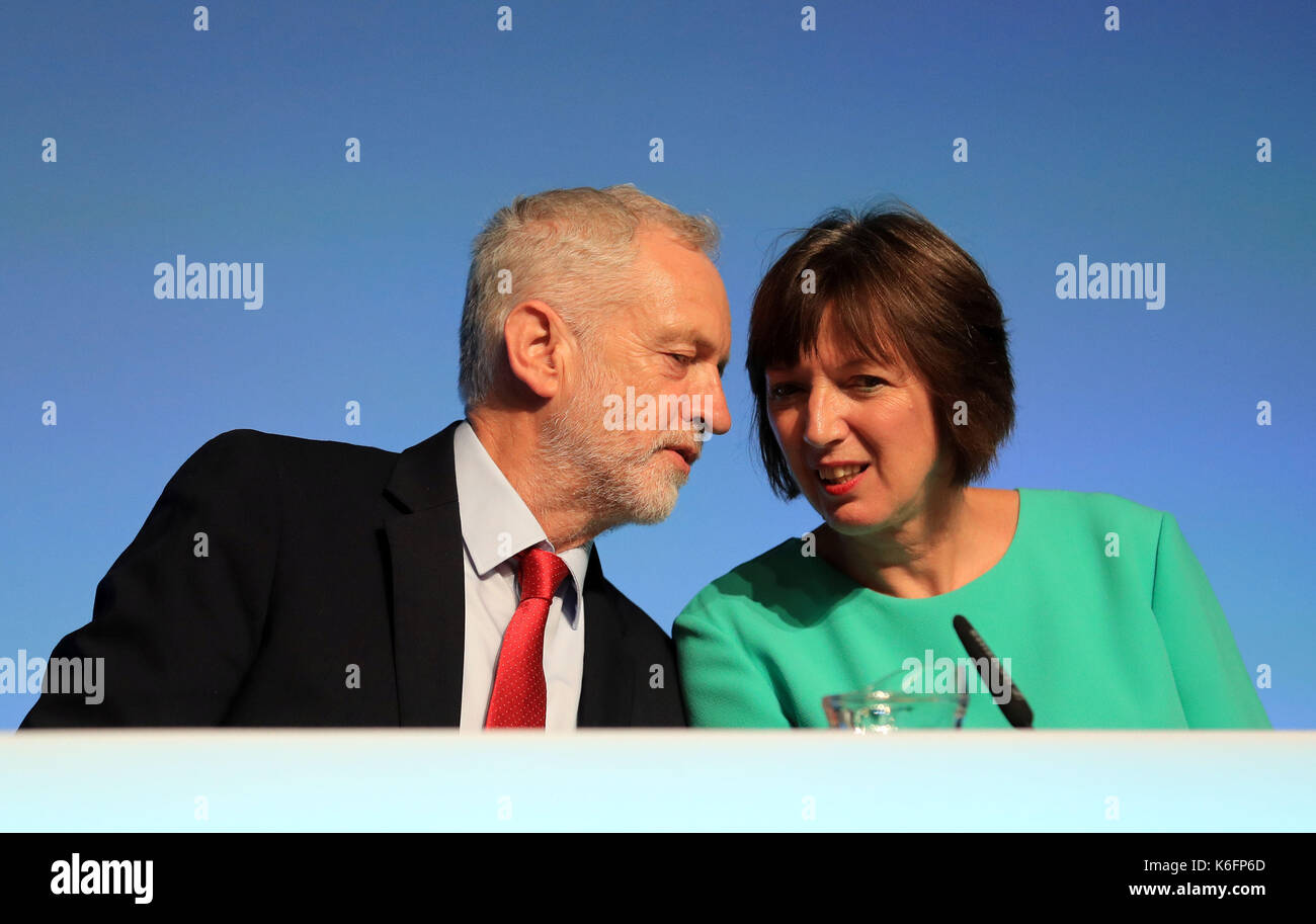 Labour leader Jeremy Corbyn with Frances O'Grady, General Secretary of the British Trades Union Congress, before speaking at the TUC conference at the Brighton Centre in Brighton. - Stock Image