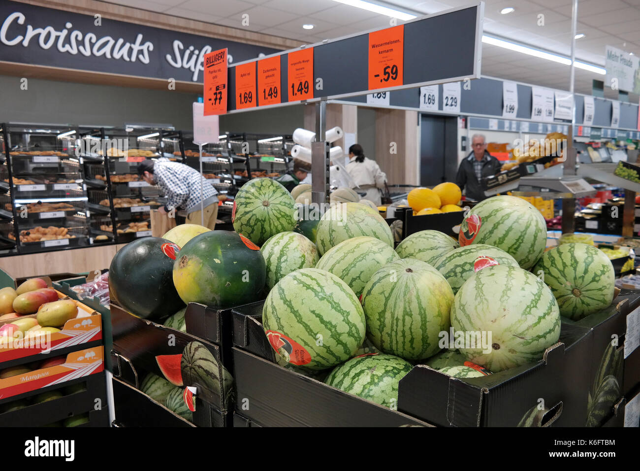 Watermelons on the fresh department of a Lidl supermarket. Stock Photo