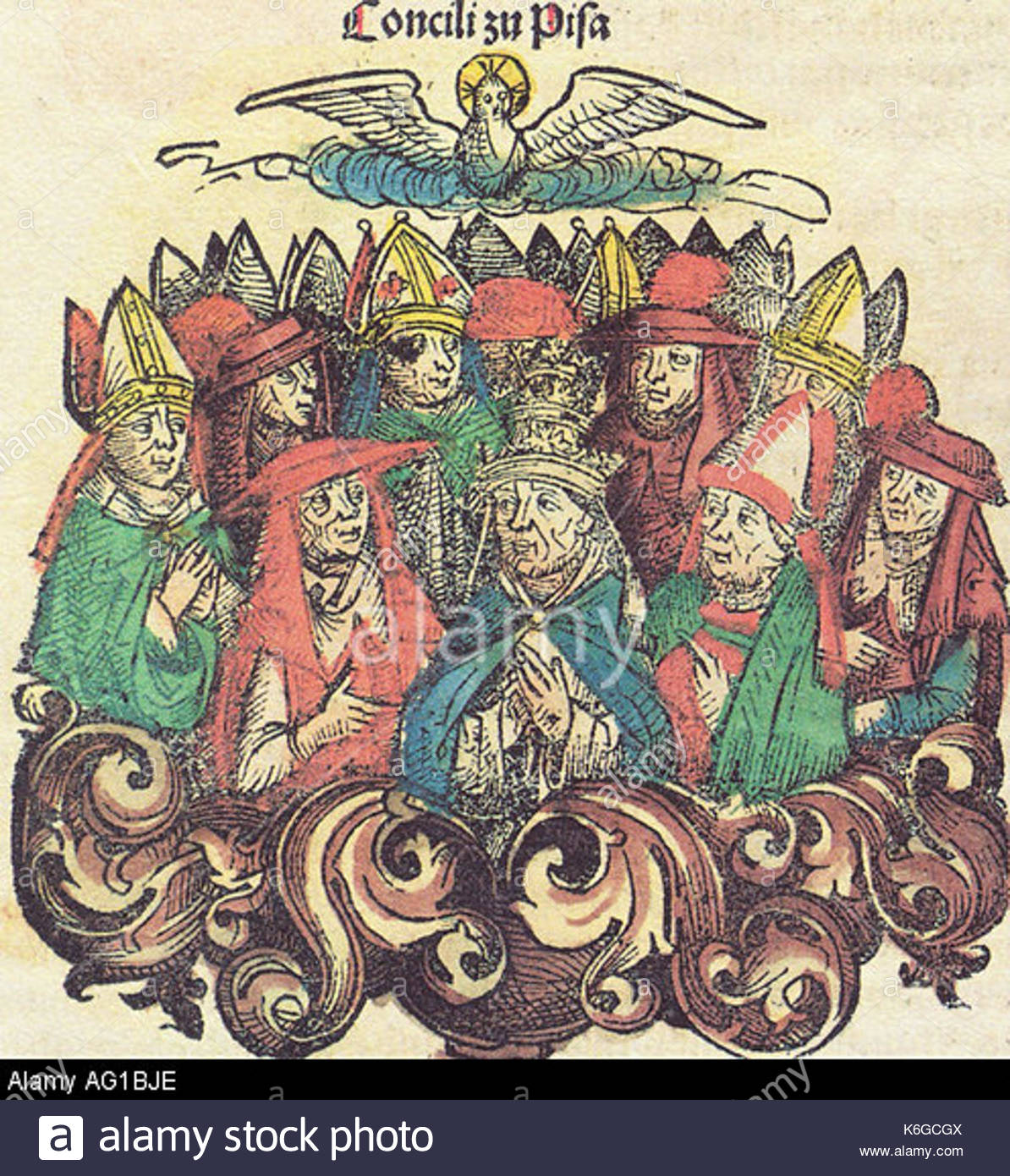 Council of pisa 1409 allegory woodcut AG1BJE - Stock Image