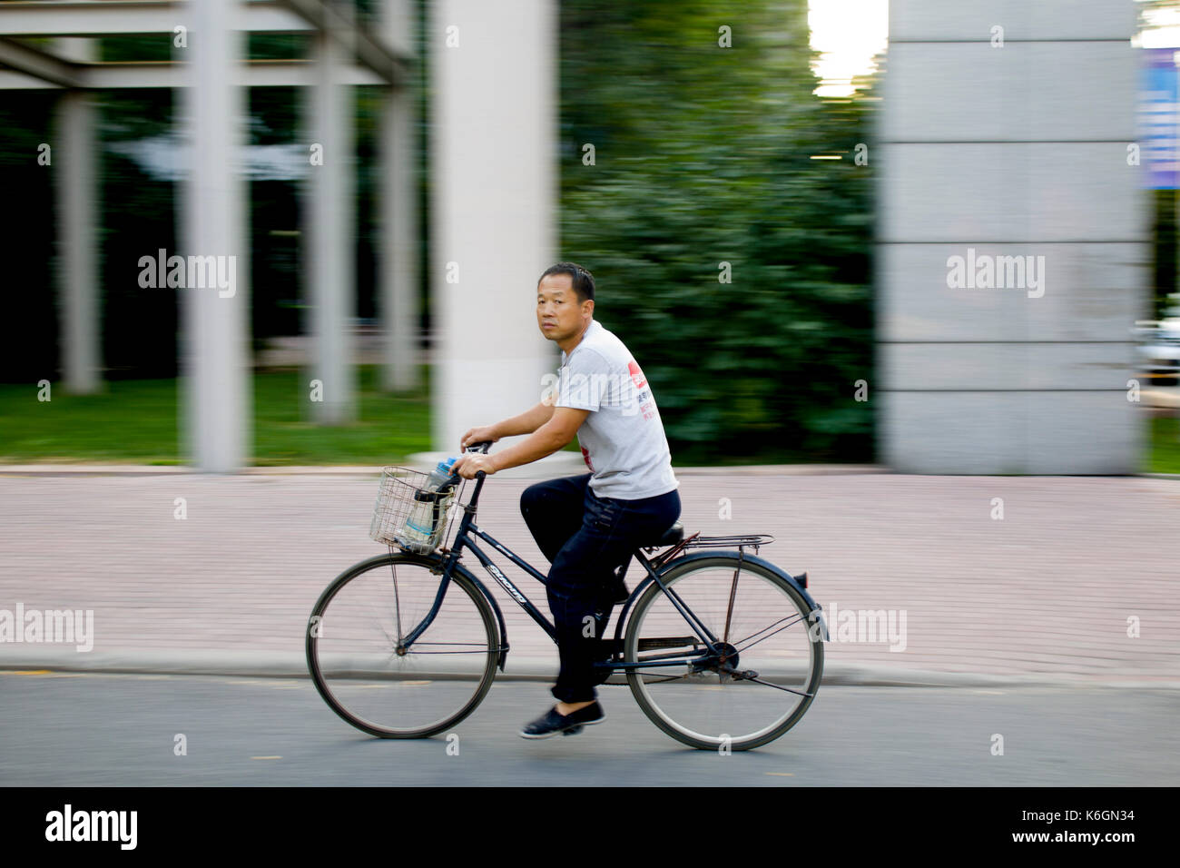 Bicycle riding Panning - Stock Image