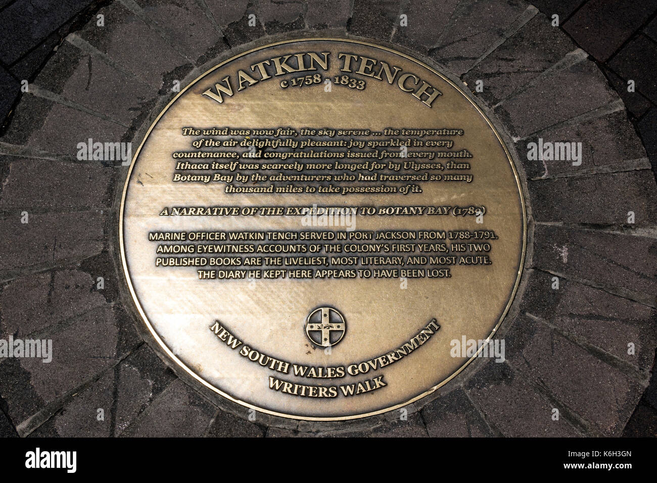 Brass Plaque To Watkin Tench Botany Bay Narrative In Circular Quay Sydney Australia Part Of Writers Walk - Stock Image