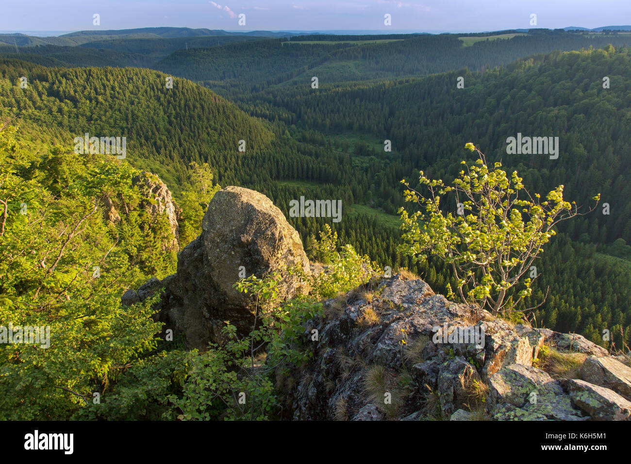 Hahnenkleeklippen / Hahnenklee Crags at Upper Harz / Oberharz in the Harz National Park, Lower Saxony, Germany - Stock Image
