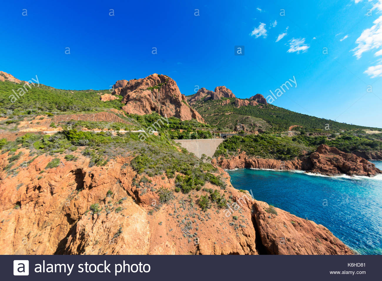 Esterel mountain with blue sky, France - Stock Image