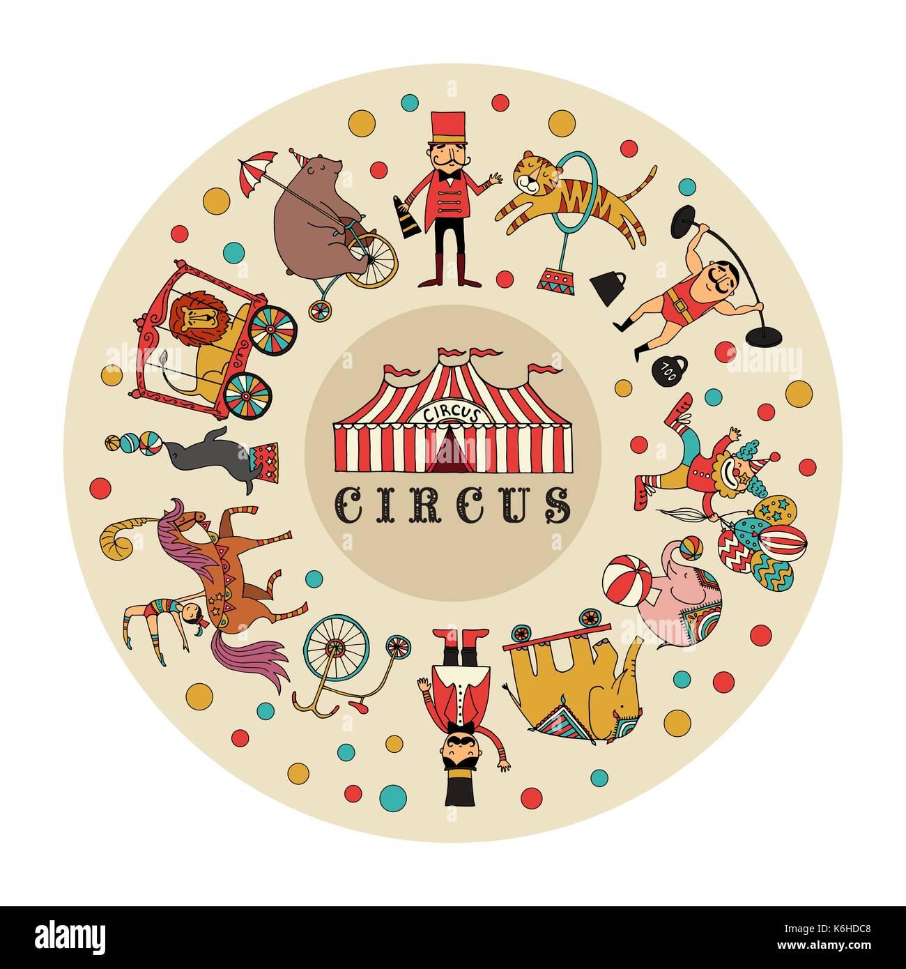 Circus, vector illustration - Stock Image