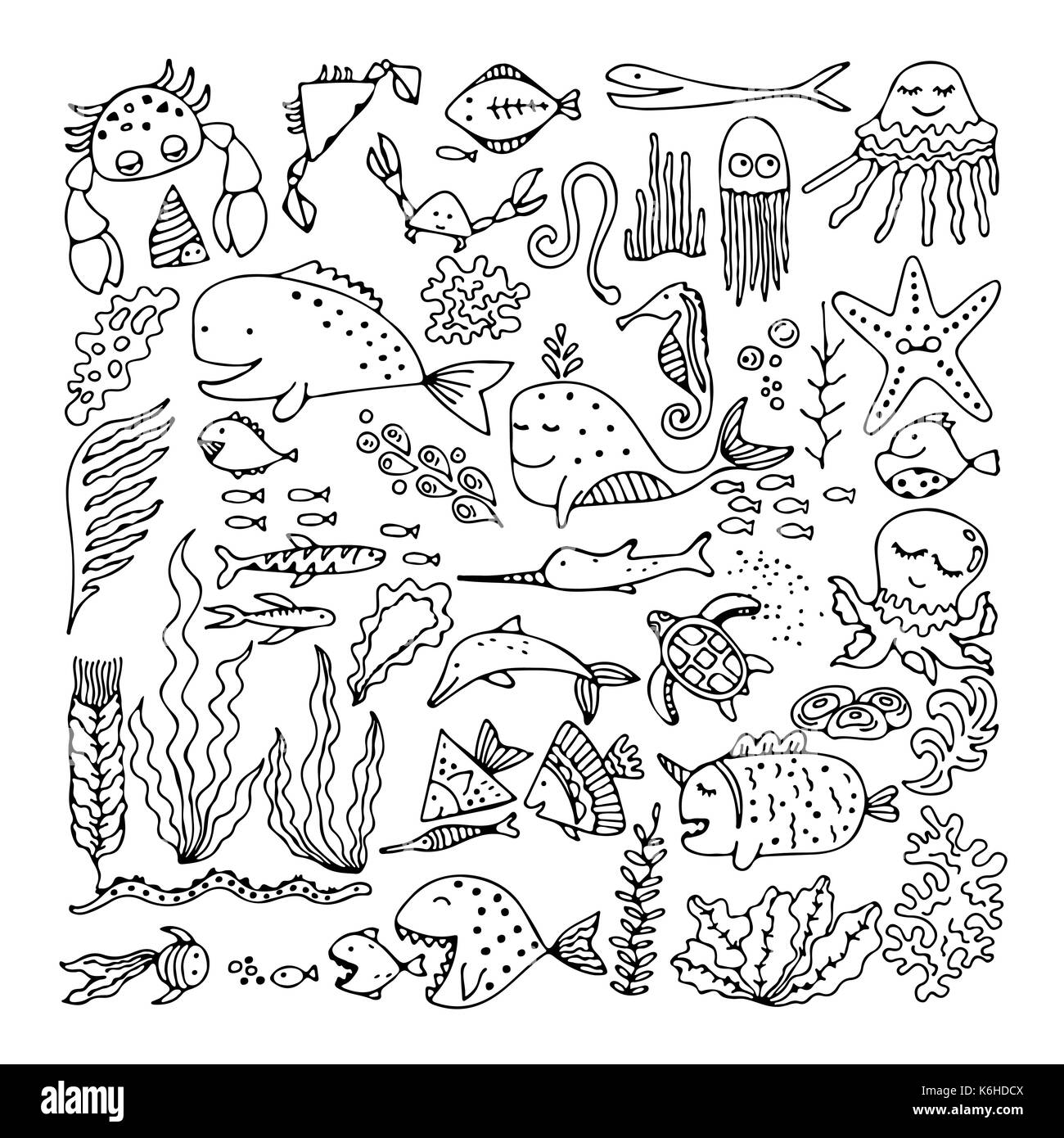 Set of cartoon fish and sea animals - Stock Image