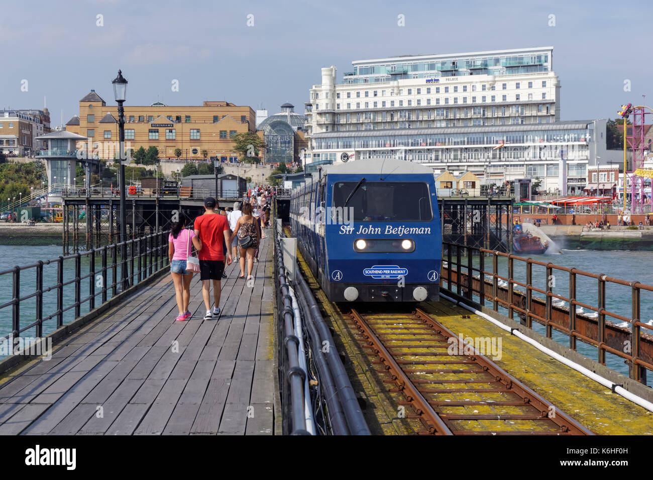 Southend Pier train, Southend-on-Sea, Essex, England, United Kingdom, UK - Stock Image