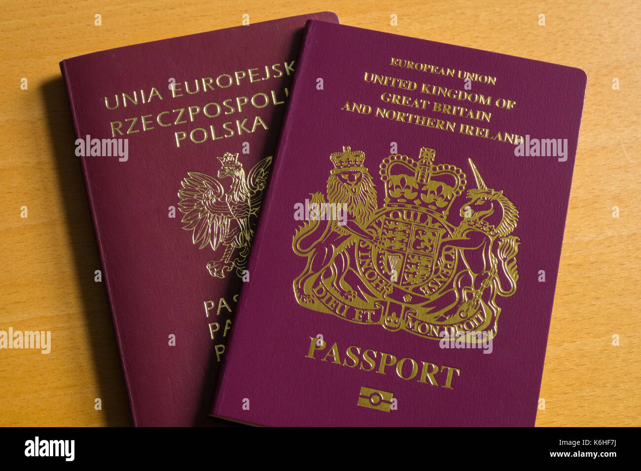 British passport and Polish passport - Stock Image