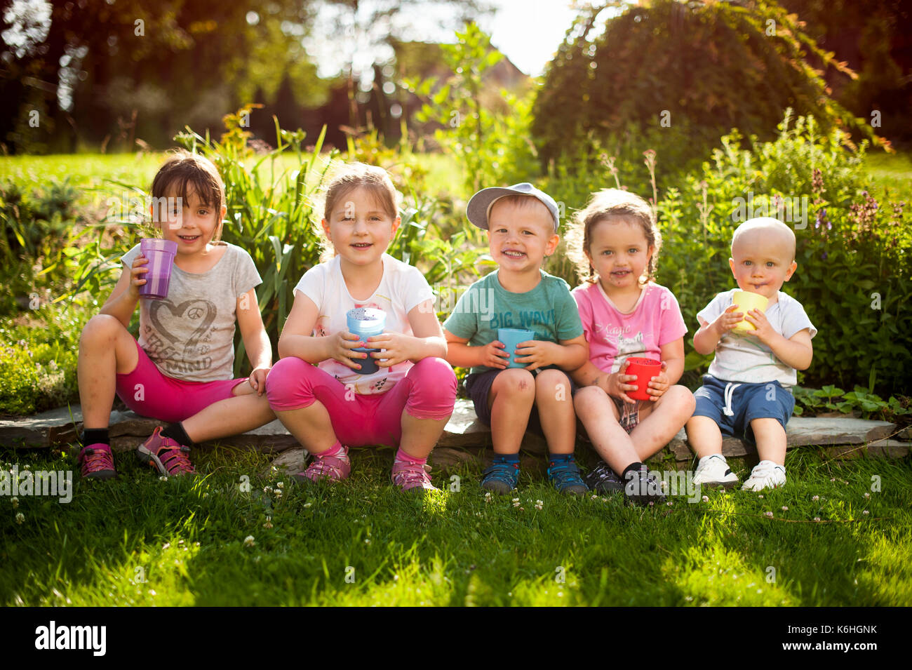 sibling enjoing summer Stock Photo