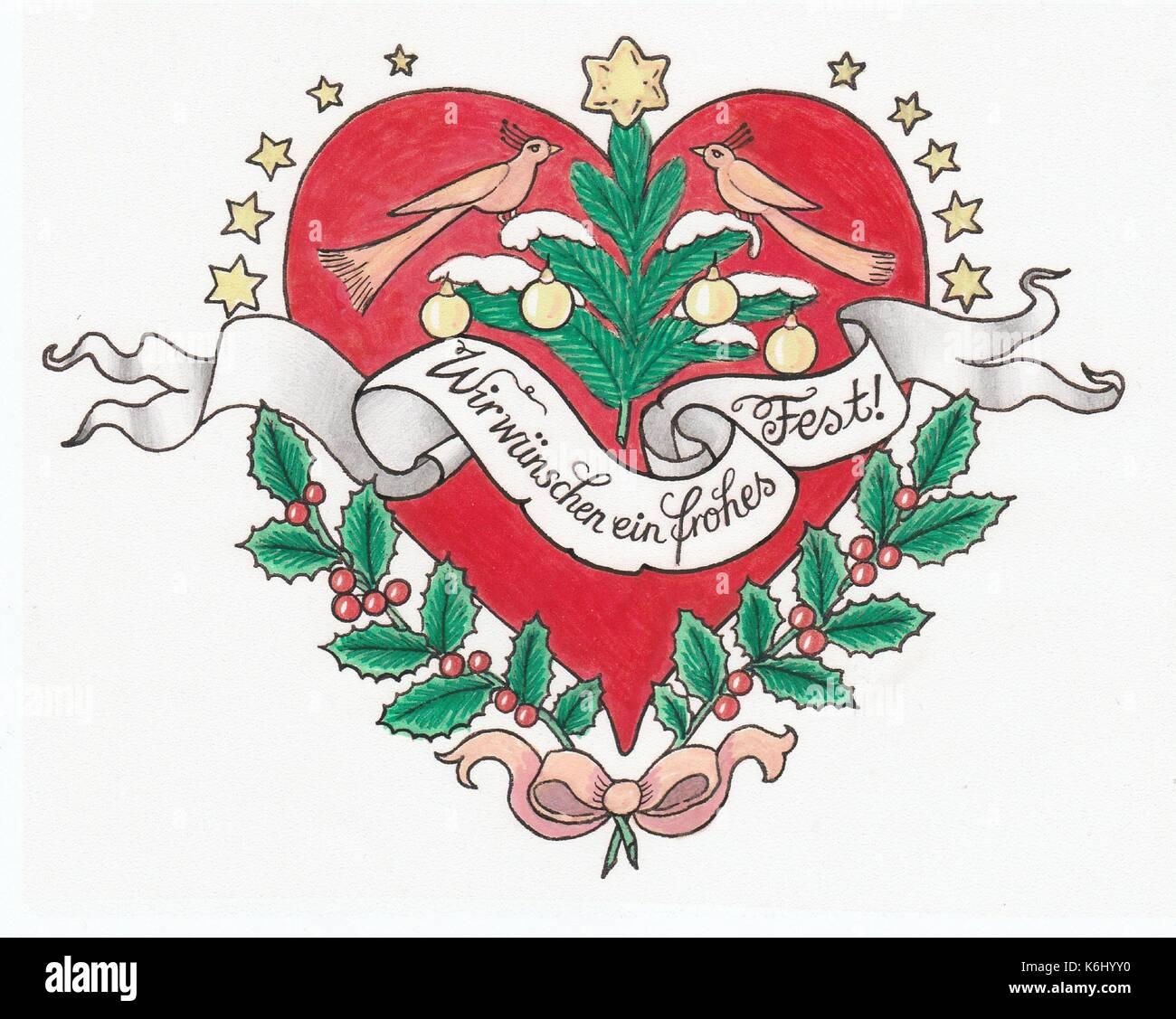 Weihnachtsherz tattoostyle - Stock Image