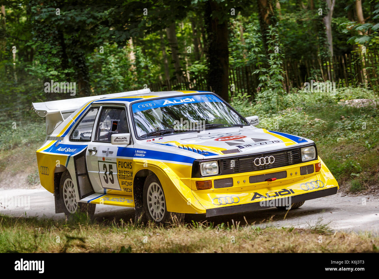 1986 Ausi Quattro S1 E2 on the forest rally stage with driver Janice Magee at the 2017 Goodwwod Festival of Speed, Sussex, UK. - Stock Image