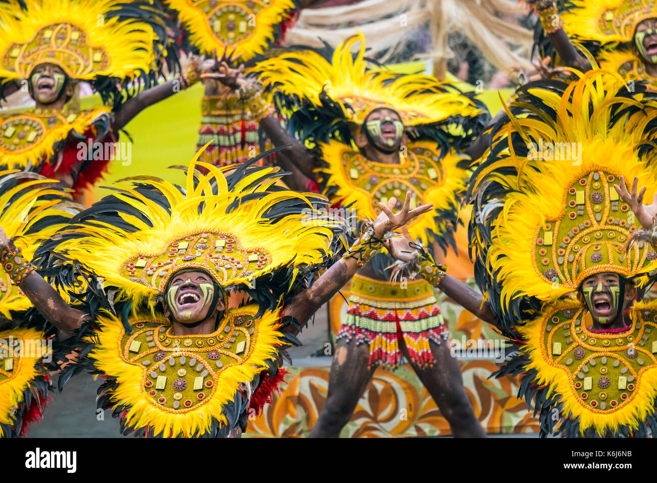 Ati warriors performing at Dinagyang Festival, Iloilo, Philippines - Stock Image
