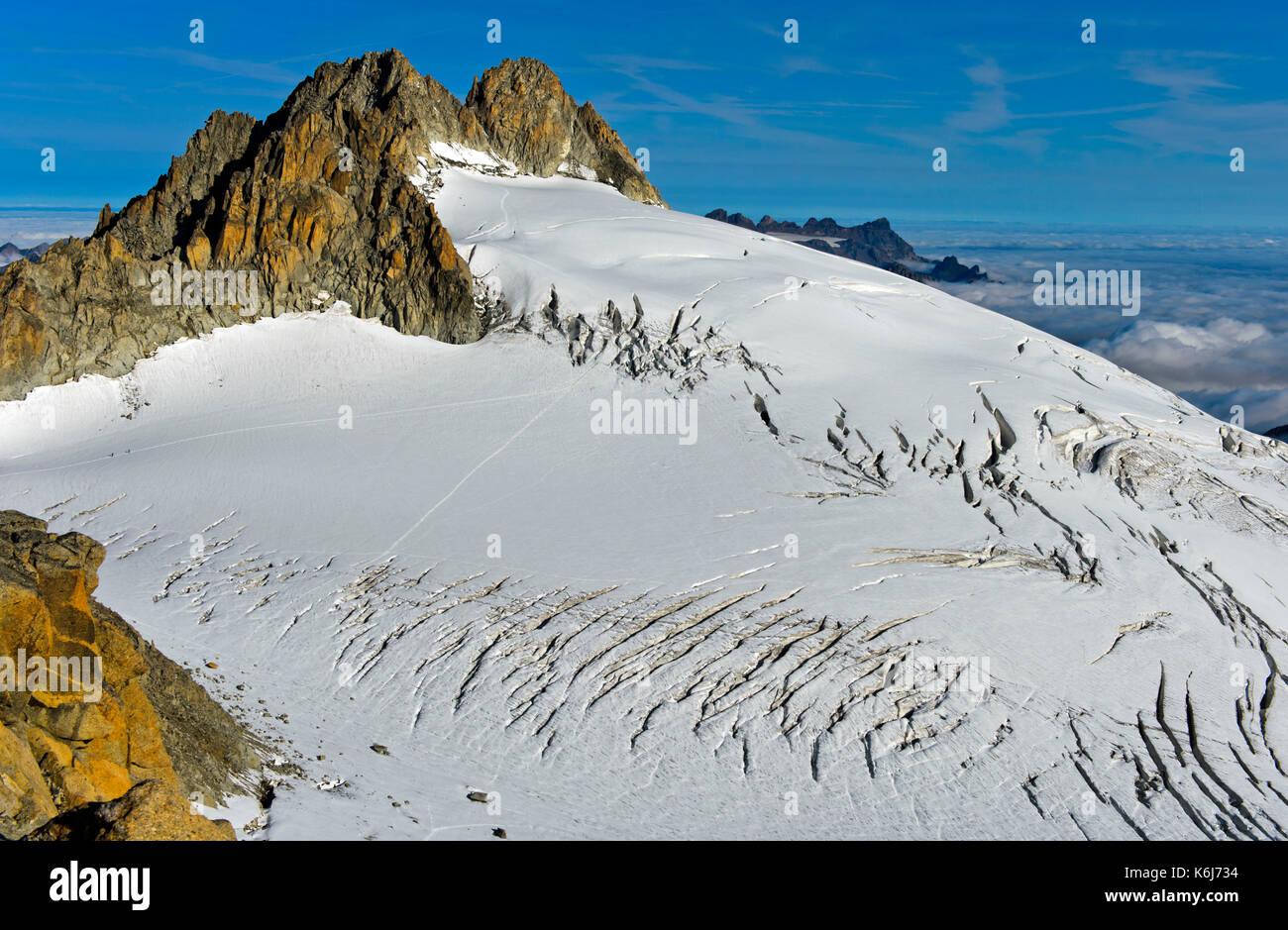 Peak Aiguille du Tour rising above the glacier Plateau du Trient, Valais, Switzerland - Stock Image