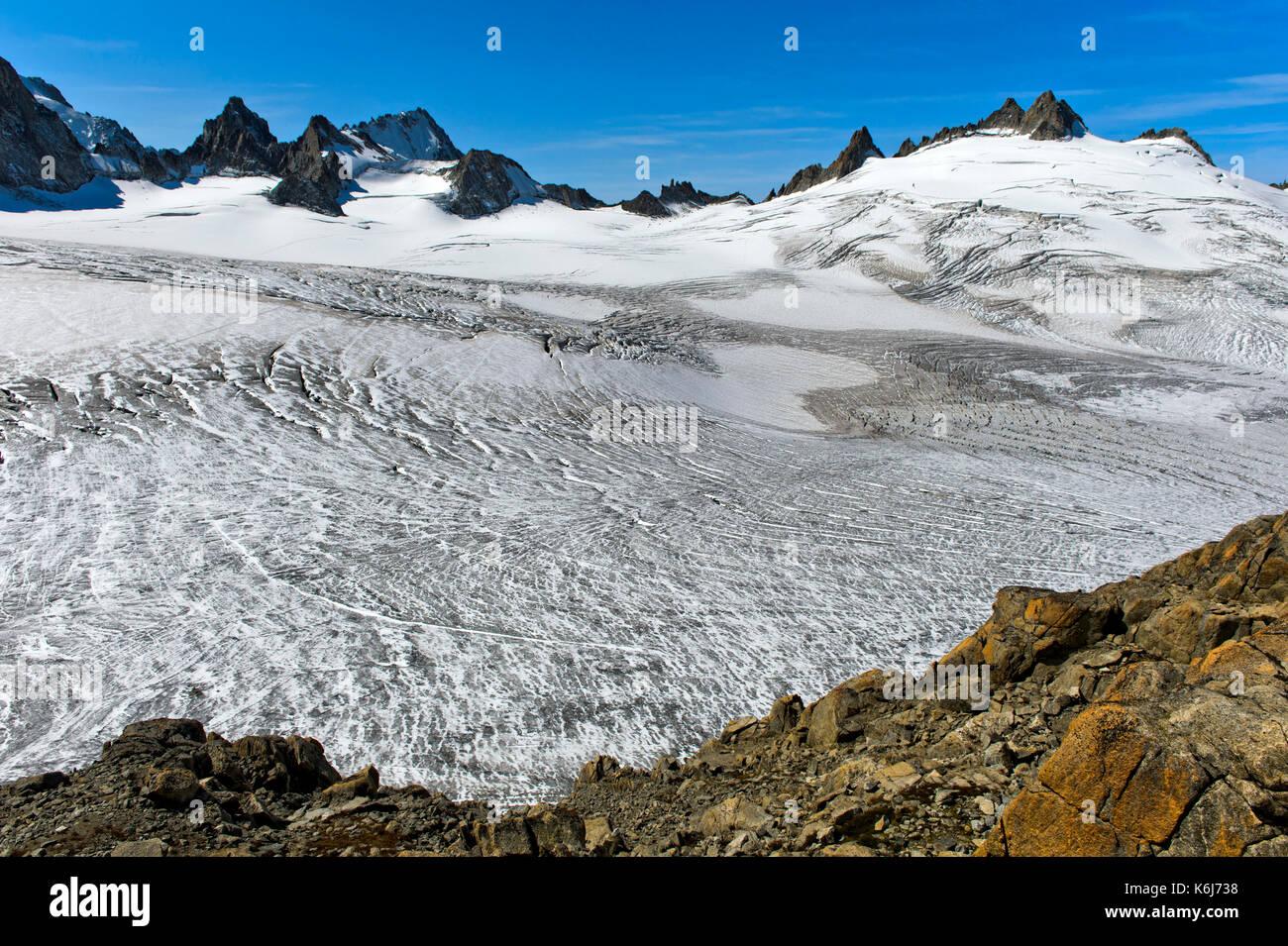 The ice area Plateau du Trient, main peaks Aiguille du Chardonnet und Aiguilles du Tour behind, Valais, Switzerland - Stock Image