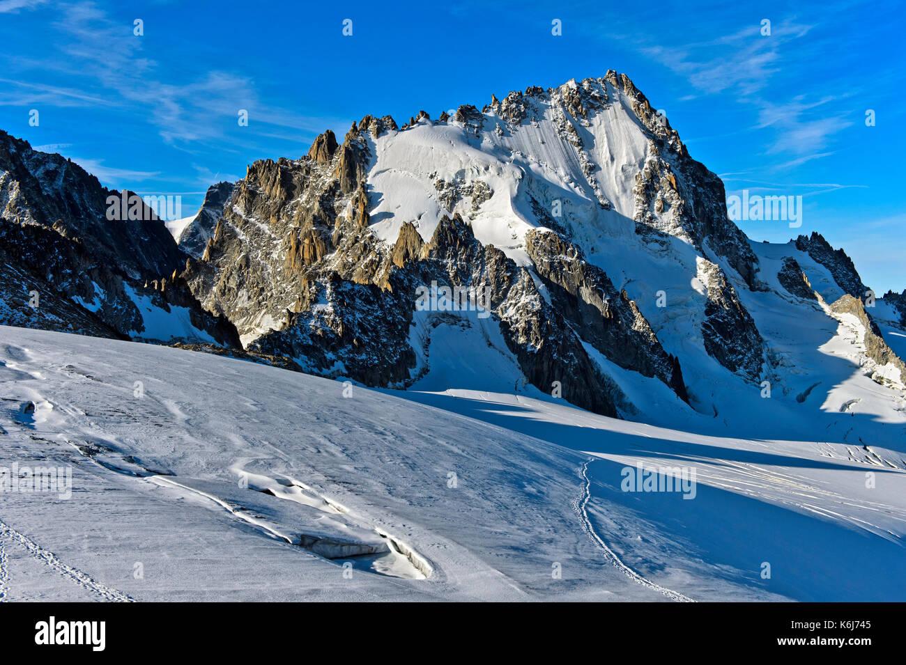 Peak Aiguille du Chardonnet, Glacier du Tour, Chamonix, Haute-Savoie, France - Stock Image