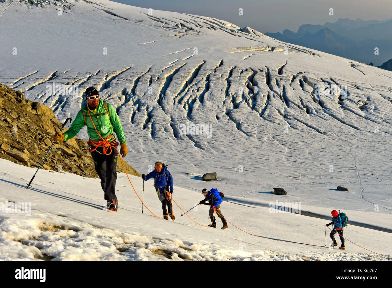 Alpinists ascending to the mountain pass Col du Tour on the glacier Plateau du Trient, Valais, Switzerland - Stock Image