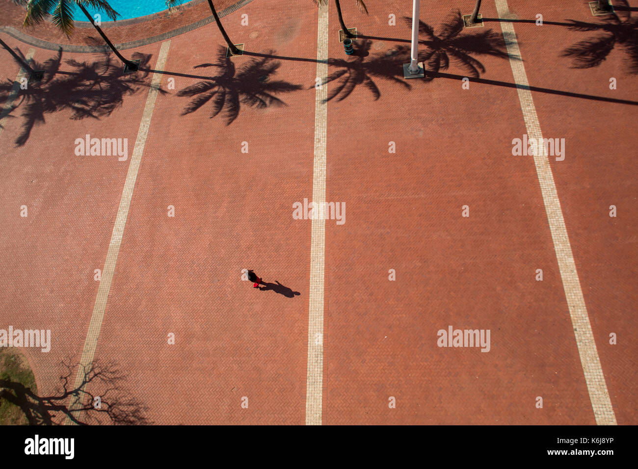 Aerial view of promenade on Golden Mile on Durban, South Africa - Stock Image