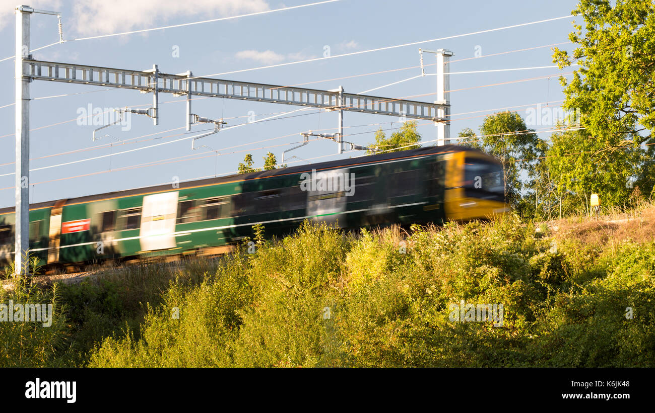 Reading, England, UK - August 29, 2016: Thames Turbo diesel multiple units at Goring in Berkshire, under new electrification Stock Photo