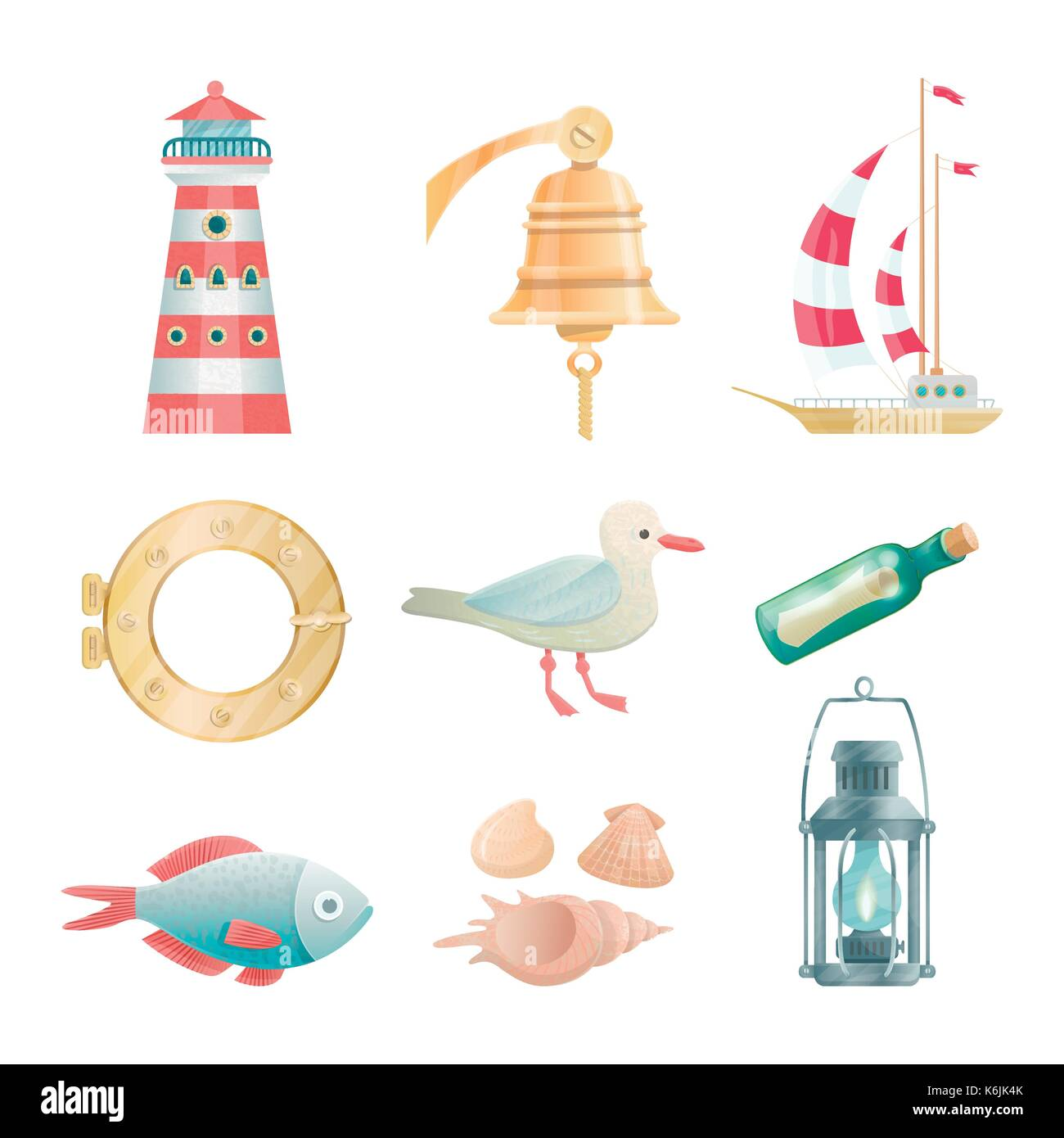 Cartoon vector nautical elements. Highly detailed. All objects are conveniently grouped Stock Vector