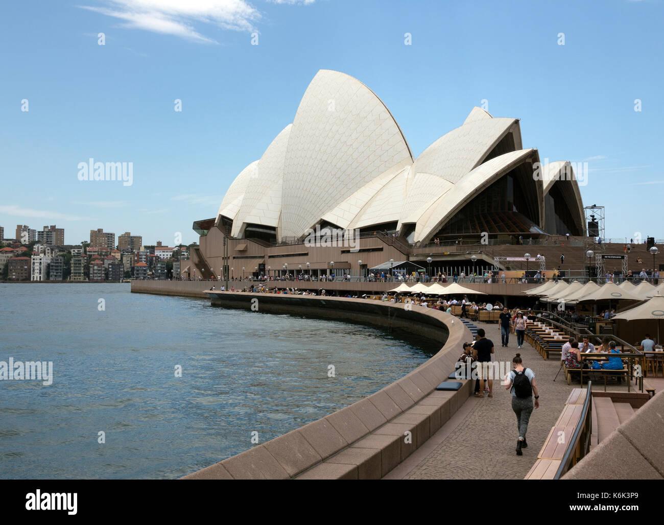 Waterfront Pavement From Circular Quay To Sydney Opera House An Iconic Australian Symbol Landmark Sydney Harbour Australia - Stock Image
