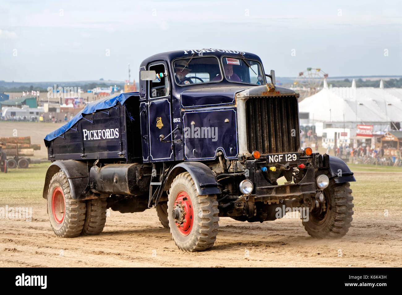 A 1952 Pickfords Scammell Mountaineer, NGF 129, at the 2017 Great Dorset Steam Fair, Tarrant Hinton, Blandford, Dorset, United Kingdom. - Stock Image